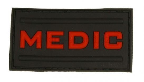 Medic - Nášivka MEDIC ČERNÁ červený nápis - 3D plast